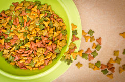Top view pet's food in bowl Royalty Free Stock Photos