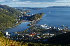 Top view of Petropavlovsk-Kamchatsky City, Avachinskaya Bay and Pacific Ocean. Summer cityscape of Kamchatka Peninsula: top view of center of Petropavlovsk stock image