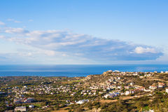 Top view of peyia village near the Mediterranean Sea in Cyprus.  Stock Images
