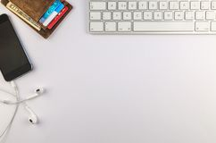 Top View Photo of Keyboard Near Wallet And Mobile Phone stock photos