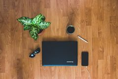 Top View Photo of Laptop Mobile Phone Royalty Free Stock Photography