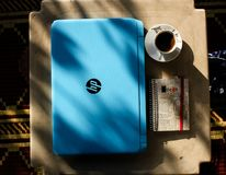 Top View Photo of Laptop Near Coffee Cup royalty free stock photos