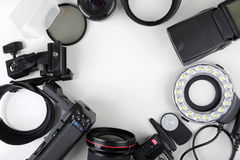 Top view of photo lenses and equipment Royalty Free Stock Images