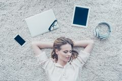 Top view photo of relaxed dreamy pretty woman who is having a da stock photography