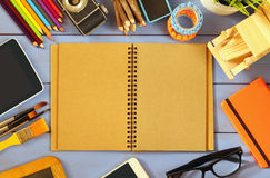 Top view photo of school supplies on wooden table Royalty Free Stock Images