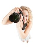 Top view of photographer girl Royalty Free Stock Images