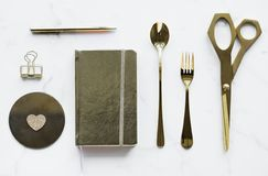Top-view Photography of Silver Spoon, Book, Fork, Scissors, and Pen Royalty Free Stock Photo