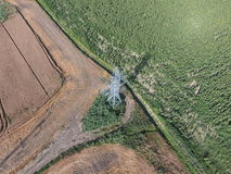 Top view, photos with quadrocopters, the mast power line Royalty Free Stock Photos