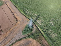 Top view, photos with quadrocopters, the mast power line Stock Photo