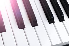 Top view of piano keys. Close-up of piano keys. Close frontal view. Piano keyboard with selective focus. Diagonal view. Piano. Keyboard perspective. Soft royalty free stock image