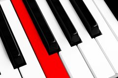 Top view of piano keys with one red button. Close-up of piano keys. Close frontal view. Piano keyboard with selective focus. Diago. Nal view. Piano keyboard royalty free stock photos