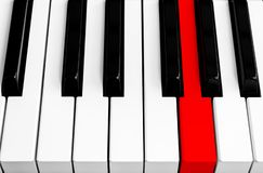 Top view of piano keys with one red button. Close-up of piano keys. Close frontal view. Piano keyboard with selective focus. Diago. Nal view. Piano keyboard royalty free stock image