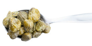 Top view of pickled capers in spoon isolated Royalty Free Stock Images