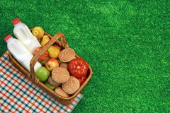 Top View Of Picnic  Basket  On The Fresh Grass Royalty Free Stock Image