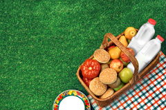 Top View Of Picnic  Basket  On The Fresh Lawn Royalty Free Stock Photos