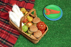 Top View Of Picnic  Basket  On The Red Tartan Blanket Royalty Free Stock Photo