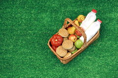 Top View Of Picnic  Basket  On The Summer Garden Lawn Stock Photo