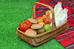 Top View Of Picnic Scene With Basket And Blanket Stock Photo