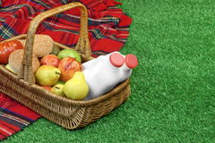 Top View Of Picnic Scene With Basket And Blanket Royalty Free Stock Photos