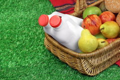 Top View Of Picnic Scene With Basket And Blanket. On The Fresh Grass Stock Images