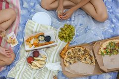 Top view of picnic royalty free stock photography