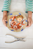 Top view picture of hands and red cooked crab on plate. Exotic vacation. Stock Photography