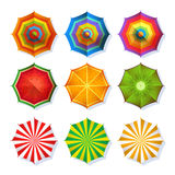 Top view picture of summer beach umbrella for relaxation. Colorful vector set isolate on white Stock Images