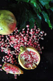 Top View of Pieces of Pomegranate Royalty Free Stock Photos