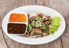 Top view Pig's intestines grilled thai style food Stock Images