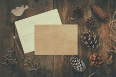 Top view of pine cones and blank card Royalty Free Stock Photo