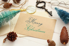 Top view of pine cones, greeting card, christmas tree royalty free stock photography