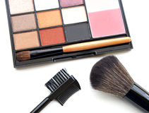 Top view of pink and brown tone make up palette. Stock Photography