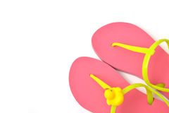 Top view of pink flip flops isolated on white. Top view of pink flip flops isolated on white background royalty free stock photos
