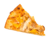 Top view pizza slice with chicken and mango on white background. Top view pizza slice with chicken and mango on a white background royalty free stock photos