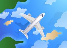 Top view of plane or jet aircraft flying over island and ocean. Summer travel or tourism agency theme.  royalty free illustration