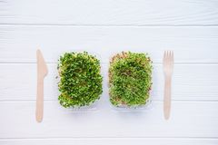 Top view plastic boxes with fresh organic sprout micro greens and wooden cutlery on the white table. Healthy Raw diet food concept. Copy space for text Stock Images