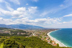 Top view on Platamon village from fortress wall Royalty Free Stock Photography