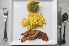Top view of a plate of breakfast. Stock Photo