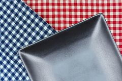Top view plate on checkered tablecloth pattern background Royalty Free Stock Photography