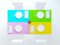 Top view, plates, vase and the spoons, 3d Stock Image