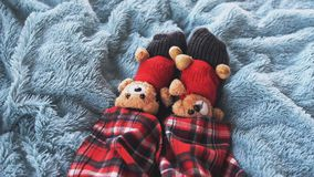 Top of view of playing feet at home in bed on a blue blanket dressed socks with cute teddy bears and in pajamas on a. Playing foot at home in bed dressed socks Stock Photo