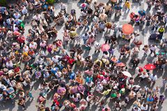 Top view at a plaza with waiting people stock photos