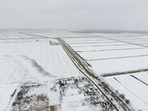 Top view of a plowed field in winter. A field of wheat in the snow.  Stock Image