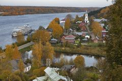 Top view of Plyos is a town in Privolzhsky District of Ivanovo Oblast, Russia Stock Images
