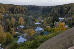Top view of Plyos is a town in Privolzhsky District of Ivanovo Oblast, Russia Royalty Free Stock Photo