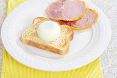 Top view poached egg on toast Stock Photos