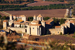 Top view of Poblet Monastery. Catalonia Royalty Free Stock Photo