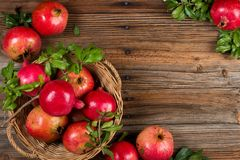 Organic pomegranates, above view.Close up. Royalty Free Stock Photos