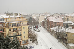 Top view of Pomorie snowfall in Bulgaria stock images