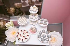 Top view at pop cake on a wedding furshet stock photos